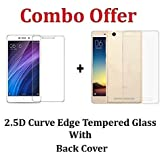 Shoppingmonk (COMBO OFFER) For Xiaomi Redmi 4A / Xiaomi Redmi 4a - - - Transparent Back Cover + Premium Tempered Glass Screen Protector - - - ( Transparent )