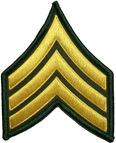 U.S. Army Sergeant E-5 Stripes Army Uniform Chevrons Rank Sew on Iron on Arms Shoulder Embroidered Applique Patch - Gold on Green - By Ranger Return (RR-IRON-SERG-E503-GRGL) (Velcro Industrial Strength Sew On compare prices)