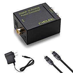 Cyelee DAC Digital to Analog Audio Converter Adapter with Optical Cable, from TV Optical/Coaxial Input to Speaker RCA Outputs