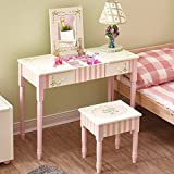 Fantasy Fields - Bouquet Thematic Kids Flip Top Mirror Vanity Table and Stool Set | Imagination Inspiring Hand Crafted & Hand Painted Details | Non-Toxic, Lead Free Water-based Paint
