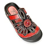 Corkys Womens Elite Rock Slip On Clogs Sandals Elite Stone/Red 9 B(M) US