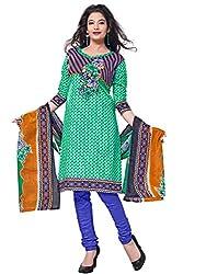 Krisha Print Women's Unstitched Dress Material (Green_Free Size)