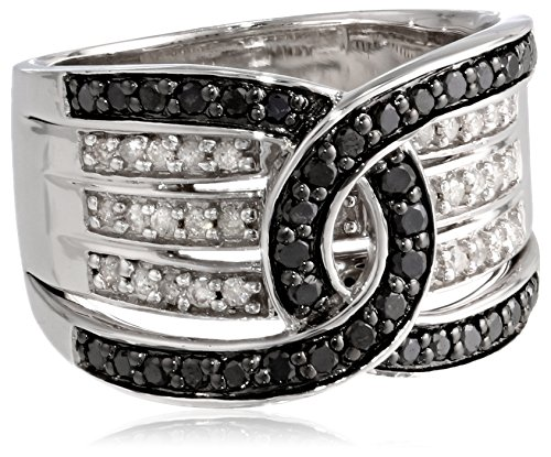 Sterling Silver Black and White Diamond Ring (3/4 cttw, I-J Color, I2-I3 Clarity), Size 8