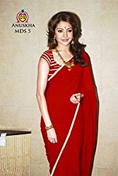Vinayak Textile Women's Maroon colored Pure Georgette Bollywood Party Wear Saree