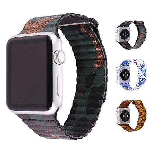 Cinturino Apple Watch 42MM, Bandmax Camuffamento Apple Watch Vera Pelle Loop con Unico Magnete di Blocco Strap Replacement Band per Apple Watch Series 2/ 1 (Camuffamento)