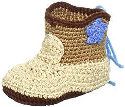Jefferies Socks Baby-Boys Newborn Cowboy Boot Bootie, Khaki, Newborn