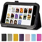 "GMYLE Black PU Leather Slim Folio Magnetic Flip Stand Case Cover with Sleep/ Wake Function for Barnes & Noble Nook HD 7"" inches Tablet"