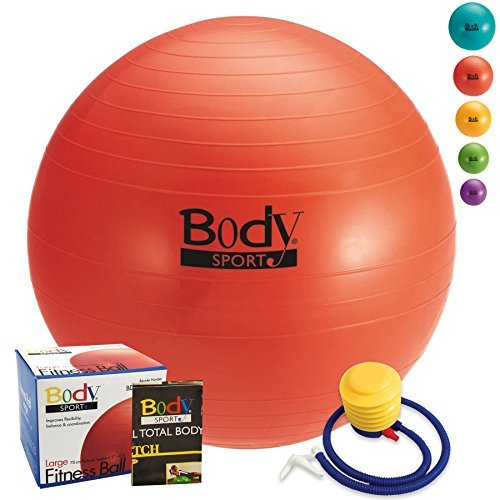 Exercise Ball With Pump (Red 75cm) - by BodySport - Strengthen Your Core for Great Abs - Tone - Yoga - Fitness - Stability - Pilates - Free Exercise Guide Included