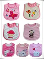 SO CUTE BABY GIRLS BIBS PACK OF 7 ADORABLE BIBS,FULLY LINED,INNER PVC WATERPROOF 100% COTTON SUITABLE FROM NEWBORN - 3 YEARS