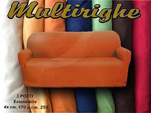 3-Sitzer-Sofa, Universal Millerighe, Orange