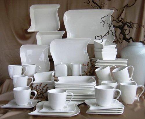 Ocean Dinner Set White 47-Piece Porcelain