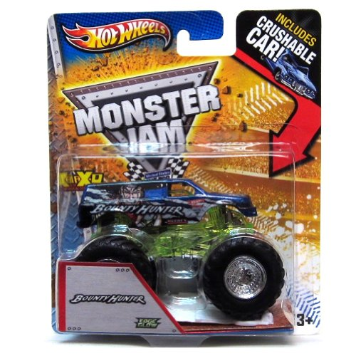 2013 HOT WHEELS MONSTER JAM BOUNTY HUNTER TRUCK WITH CRUSHABLE CAR 1:64 SCALE