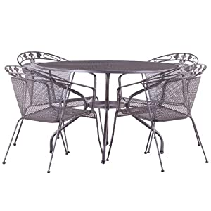 Elegance 120cm 4 Seater Dining Set Silver Metal Garden Furniture Set 4 Se