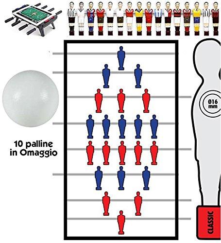 Calcio Balilla serie completa di otto (8) aste rientranti-telescopiche O mm.16, senza astina interna in acciaio. In omaggio 10 palline calcetto.