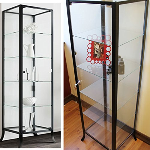 Curio Cabinet Display with Glass Door and Lock for Collectibles and Other Items to Showcase , Durable Black Steel Frame with Industrial to Contemporary Look (Glass Door Display Cabinet compare prices)