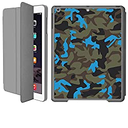 iPad Air 1 Smart Case Flip Cover (Grey)- Neon Blue Camouflage-Limited Edition Designed by Nik-L
