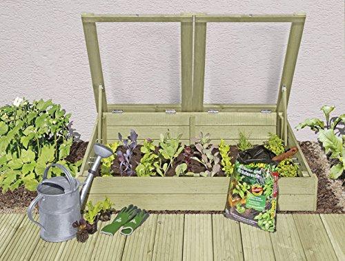 Gartenwelt Riegelsberger Frühbeet aus Holz KDI 119 x 80 x H21/30 cm Kräuterbeet für Balkon und Terrasse von Gartenwelt Riegelsberger 61064