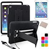 TKOOFN Hybrid Colors Combo Covers 2 in 1 Dual Protection Snap-on Shockproof Case & Kickstand for Samsung + Screen Protector + Stylus + Cleaning Cloth