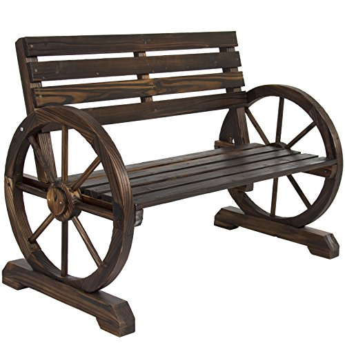 BCP Patio Garden Wooden Wagon Wheel Bench Rustic Wood Design Outdoor Furniture (Cast Iron Garden Arbors compare prices)