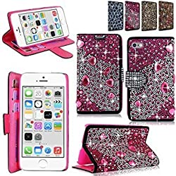 iphone 6 6S Plus Case - Cellularvilla Pu Leather Wallet Diamond Design Sparkle Glitter Card Flip Open Pocket Case Cover Pouch For Apple iPhone 6 6S Plus 5.5