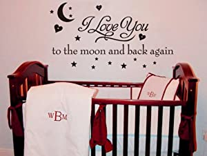 Love you to the moon and back again wall sticker decal home decor art