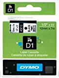 "DYMO Labeling Tape, ½"" x 23, Black Print on White Tape (45013) D1 Label Cassette, Split Back Easy Peel Adhesive"