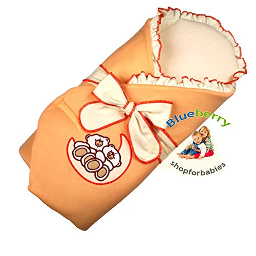 Blueberry Shop Exclusive Velour Embroidery Swaddle Wrap Sleeping Bag Snuggle Pod Stiffened Back Apricot - 1