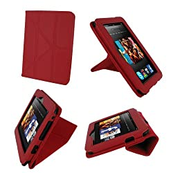 rooCASE Origami Dual-View (Red) Vegan Leather Folio Case Cover for Amazon Kindle Fire HD 7 Inch Tablet  - Support Landscape / Portrait / Typing Stand / Auto Sleep and Wake