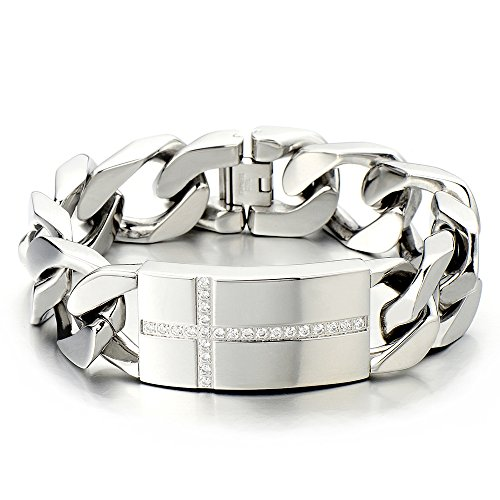 Mens Large Stainless Steel Cross Identity Curb Chain Bracelet Set with Cubic Zirconia Hip Hop Rock