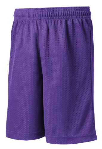 Sport-Tek - Youth Posicharge Classic Mesh Shorts. Yst510 - Small - Purple front-563911