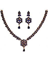 Blue Sapphire Color Stone Studded Necklace & Earring Set