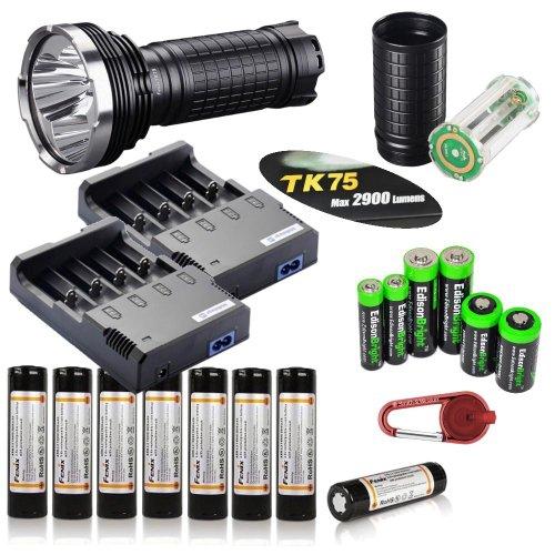 Fenix Tk75 L2 2900 Lumen Triple Cree Xm-L2 U2 Led Flashlight/ Searchlight With Eight Genuine Fenix Arb-L2 18650 Batteries, Fenix Aer-Tk75 Extender Tube, Battery Magazine , Two Nitecore I4 Smart Battery Chargers, Edisonbright Battery Sampler Pack And Red S