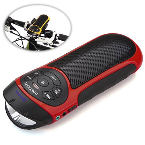 Ivation Bike Beakon: Portable Rechargeable Rugged Bluetooth Stereo Speaker & Mp3 Player W/Microsd Card Slot, Aux Input, Fm Radio & Phone Answering - With Bult In Flashlight - Neon Red - Perfect For Home, Office, Sporting & Biking Use - Bike Mount Included
