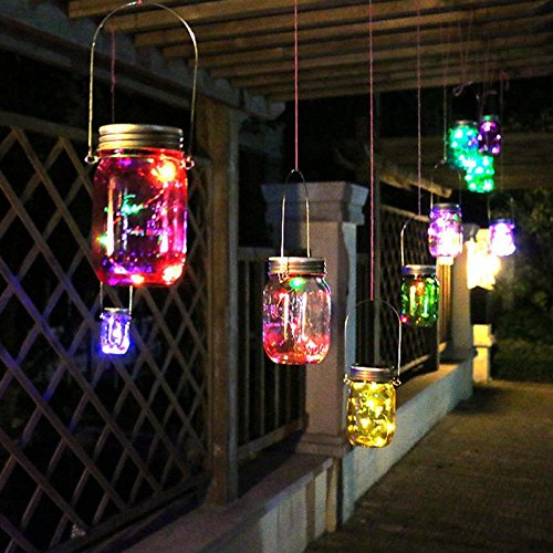 Mason Jar Color Changing Fairy Lights with LED Solar Suspension Lights, (3C certification.) - Outdoor Garden Party Patio Bistro Cafe Hanging Lights Light String