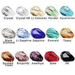 BRCbeads Glass Beads Crystal Findings Spacer Charms 150pcs Faceted #5500 Straight Hole Teardrop Shape 10x15mm Assorted Colors include Plastic Jewelry Container Box Wholesale Mix lot Beads for jewelery making
