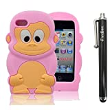 FiveBox 3D Cartoon Cute Monkey Style Soft Silicone Cover Case For Apple ipod Touch 4 - Light Pink