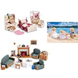 Calico Critters Sister's Bedroom Deluxe Living Room and Sea Otter Family