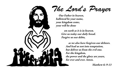 The Lords Prayer Wall Decals is Black High Quality Vinyl Wall Decals Jesus and the Father Prayer. The Sample Prayers Quote Wall Decals for Teen Girls, Kids Rooms and Nursery. Make Perfect Gifts!