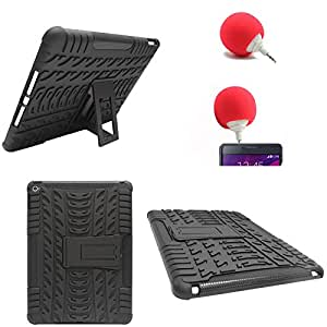 DMG Heavy Duty Mesh Protection Dual Layer Back Cover Case with Kickstand for Apple iPad Air 2 (Black) + 3.5mm Audio Dock Sponge Speaker