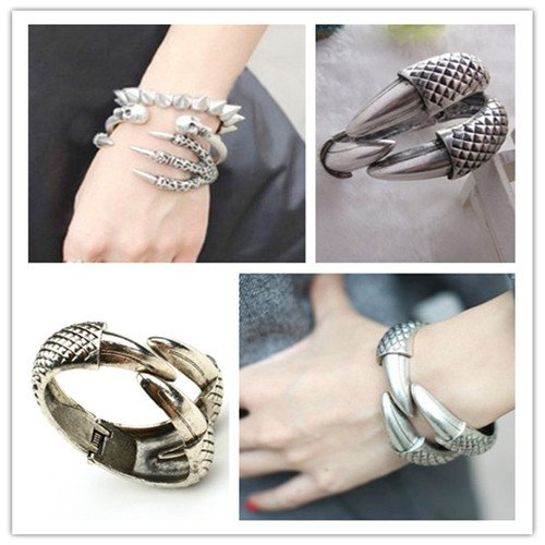Vintage Eagle Bird Claw 3 Talon Bangle Bracelet Cuff Gothic Punk Rock Silver