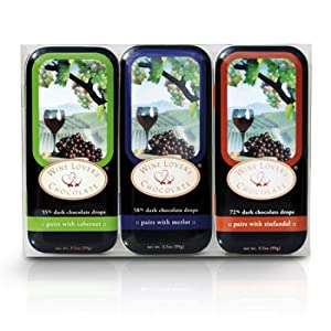 Wine Lover's Chocolate 3-Tin Gift Set, Pair with Cabernet, Merlot, Zinfandel, 10.5-Ounce Gift Set