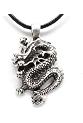 Pewter Chinese Dragon China Pendant on Leather Necklace