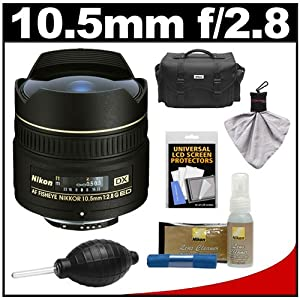 Nikon 10.5mm f/2.8G ED DX AF Fisheye-Nikkor Lens with Nikon Case + Cleaning & Accessory Kit for DSLR Cameras