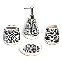 4 Piece Bathroom Ceramic Accessory Set