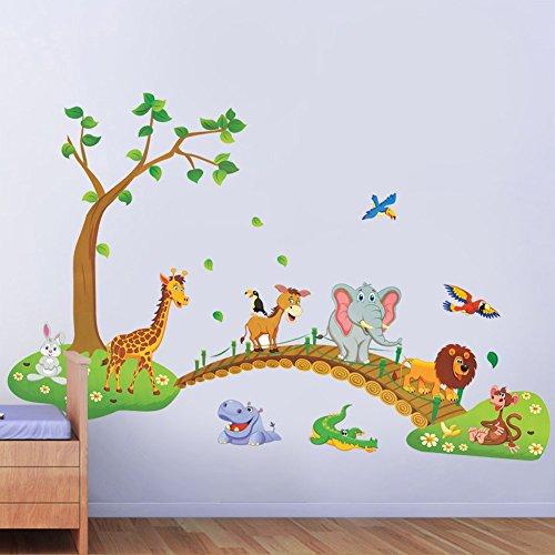 3d-cartoon-jungle-wild-animal-tree-bridge-lion-giraffe-elephant-birds-flowers-wall-stickers-for-kids