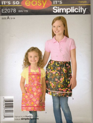Girls Clothes Pattern Apron/ Pinafore New Uncut Simplicity 2011 Design E2078