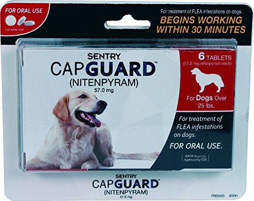 SENTRY Capguard (nitenpyram) Oral Flea Treatment Medication, 25 lbs and Over, 6 count (Capstar Flea Control compare prices)