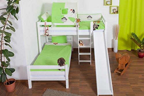 Lit pour enfant / Lit superposé Moritz L en hêtre massif peint en blanc, avec étagère et diapositive, sommier à lattes déroulable inclus - 90 x 200 cm