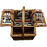 Picnic Basket - Large Basket With Settings For Two - Includes: Silverware, Glasses, and Accessories