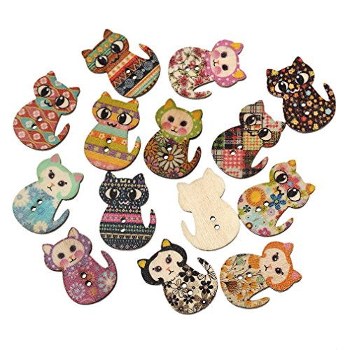 Souarts Mixed Random 2 Holes Cat Shape Wood Wooden Buttons for Sewing Crafting Pack of 100 (Buttons For Sewing And Crafting compare prices)
